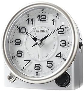 Seiko QXE011ALH Silver Dial Bedside Alarm Metallic Case Clock