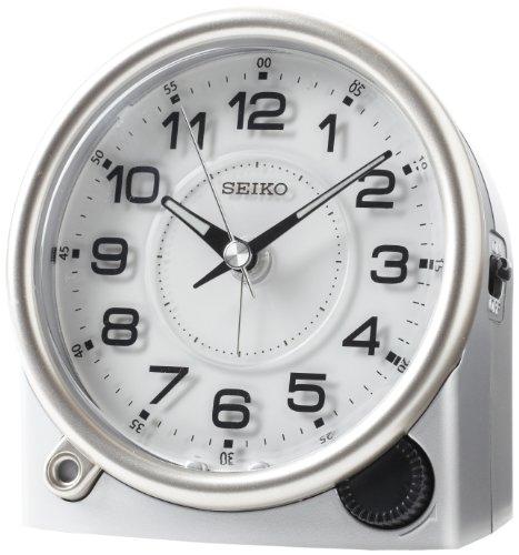 Seiko Bedside Alarm Clock Silver-Tone Metallic Case