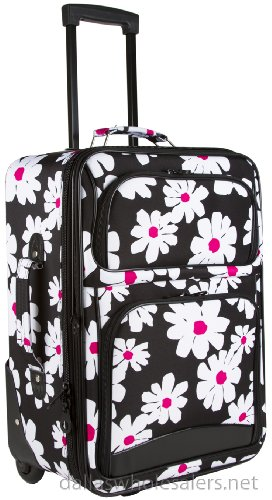 Black  White Daisies 1 Piece Rolling Carry On
