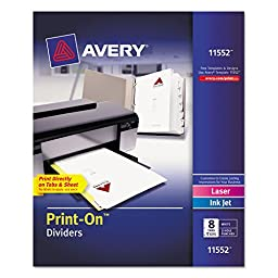 Avery Print-On Dividers with White and Ivory Color Tabs