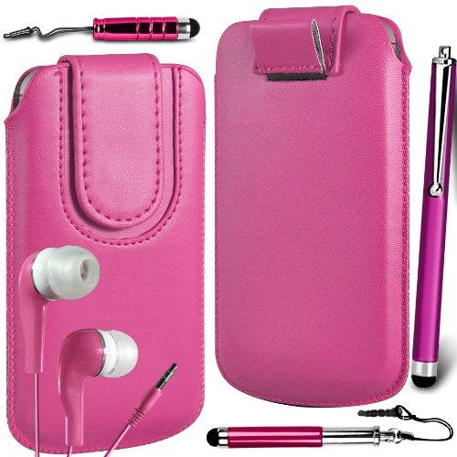 N4U Online Premium PU-Leder Flip Pull Tab Hülle Tasche mit Magnetbandverschluss, Ohrhörer Ohrhörer & Stylus 3er Pack Bundle für Nokia Lumia 610 - Rosa