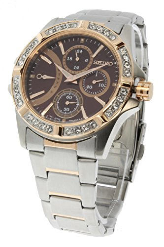 Seiko Lord Two-Toned Stainless Steel Fixed Swarovski Crystal Bezel Ladies Watch SRLZ88P1