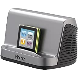 iHome iHM16G Portable Stereo Speaker System for iPad, iPod and MP3 Player, 3.5mm line-in  (Gray)
