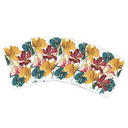"Kess Inhouse Lydia Martin ""Flower Power"" Floral Rainbow Outdoor Place Mat, 15 By 15-Inch, Set Of 4"