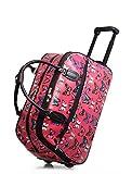 Sugar Sweet Bags Ladies Butterfly Print Holdall Trolley Weekend Bag Hand Luggage Travel Bag M917 (Rose)