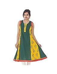 Parinita Women Green Cotton Solid With Printed Long Kurti