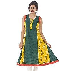 Parinita Women Green Cotton Solid With Printed Long Kurti_L