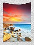 Ambesonne Seaside Decor Collection, Sunrise over Seashore Stone on the Foreground Caribbean Morning View Picture, Bedroom Living Room Dorm Wall Hanging Tapestry, Red Orange Blue Ivory