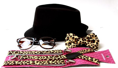Animal Print Hipster Nerd Outfit Kit with Fedora