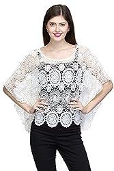 One Femme Women's Designer White Cotton Crochet Shrug (OFSGT002_White 03_Free Size)