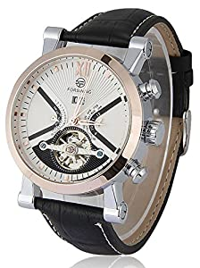 Carlien Men's Rose Gold Automatic Steampunk Style Tourbillon Watch