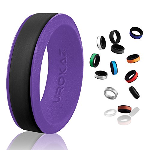 UROKAZ   Silicone Wedding RingBlack   PurpleSize 11  Inner Diameter ~ 20.57 mm