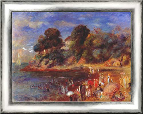 The beach at pornic 24x20 Silver Contemporary Wood Framed Canvas Art by Renoir, Pierre Auguste