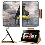 Luxlady Premium Amazon Kindle Fire HD 8.9 Flip Case Digital Illustration of a Piano IMAGE 21256286 Pu Leather Card Holder Carrying