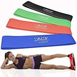 ACF 4 Exercise Bands - Resistance Loop Bands for Fitness and Stretching Workouts from Amazing Core Fitness