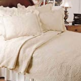 English Rose Matelasse Coverlet, King, Ivory / Parchment