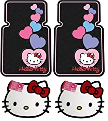 Hello Kitty Face Front & Rear Car Truck SUV Floor Mats + Bonus Bling Sticker Kit