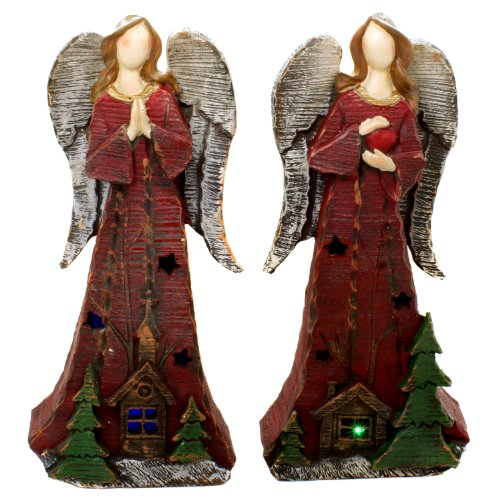 """Tii Collections Woodland Angels Led Light 10"""" Tabletop Figurines With Church And Christmas Tree Carving: Set Of 2 Figurines - Lights Up!"""