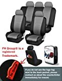 FH-FB060115 Trendy Elegance Car Seat Covers, Airbag compatible and Split Bench, Gray / Black color