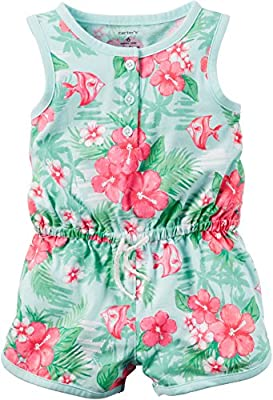 Carters Baby Girls Printed Jersey Romper Hawaiian Print Mint