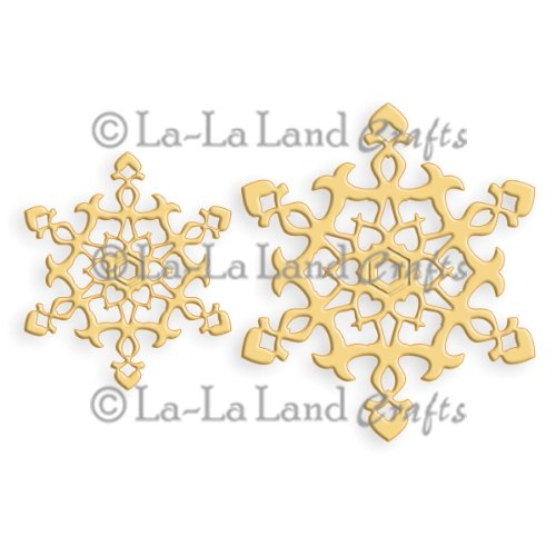 La-La Land Crafts Die-Ornament Snowflakes, 2.75-Inch by 1.75-Inch, 2-Pack