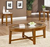 Azalea 3 Piece Occasional Table Set in Light Brown Finish by Coaster Furniture