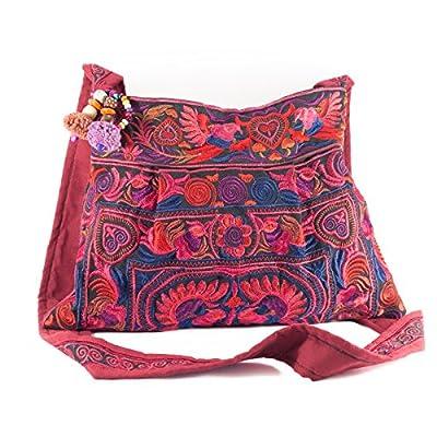 Changnoi Magenta Bird Hmong Bag Hill Tribe Bags Thai Handmade Handbags Embroidered Strap Fair Trade