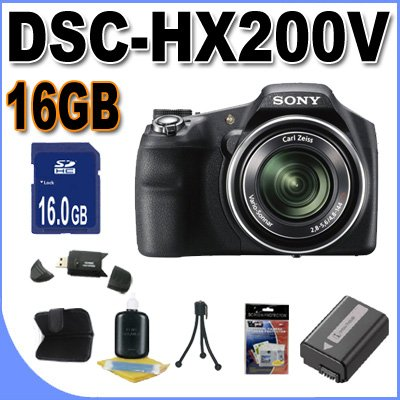 Sony Cyber-shot DSC-HX200V 18.2 MP Exmor R CMOS Digital Camera with 30x Optical Zoom and 3.0-inch LCD (Black) + FH50 Battery + 16GB SDHC Card + Card Reader+ tripod + more!!!!