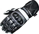 Motorbike Biker Leather Gloves Anthracite/Black, Size:8=m
