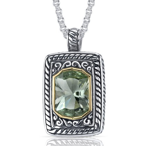 Baroness Cut 5.50 carat Green Amethyst Sterling Silver Locket Style Pendant Free Shipping