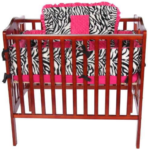 Baby Doll Zebra Minky Cradle Bedding Set, Pink