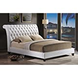 Baxton Studio Jazmin Tufted Modern Bed with Upholstered Headboard, King, White
