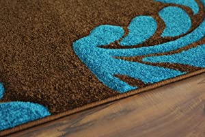 Havana 916 Coffee Brown and Turquoise Leaf Print Design Rug 4 Sizes Available from The Rug House