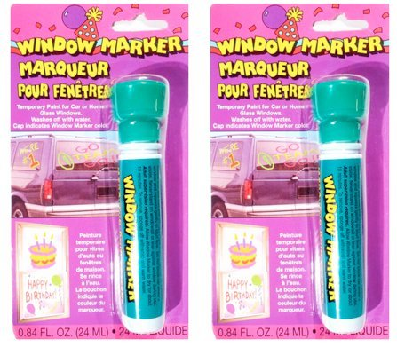 2 Pack - Window Markers - Temporary Paint for Car or Home Glass Windows (Green) (Green Car Window Paint compare prices)