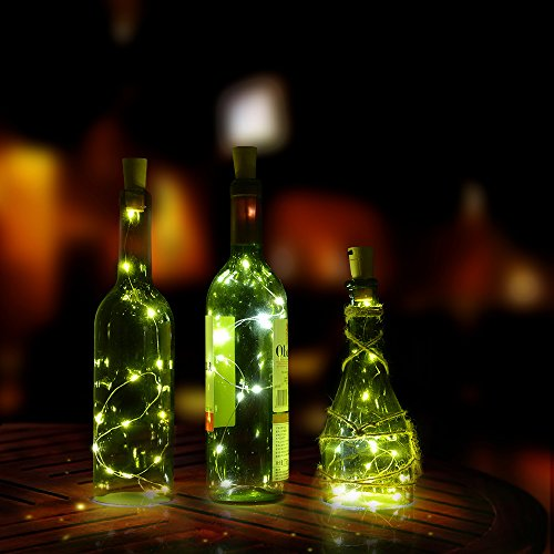 Cork shape lights, AGPtek 3PCS Bottle Mini String Lighting 75cm/30inch Copper Wire light Starry Light For Bottle DIY, Christmas Wedding and Party Halloween (White)