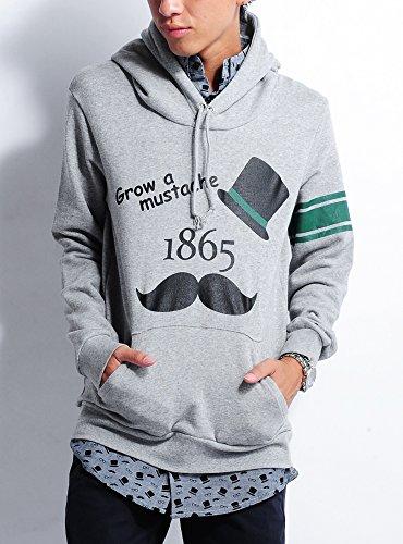 グレー 長袖 L (ベストマート)BestMart ひげ パーカー メンズ プルオーバー 7分袖 七分袖 605013