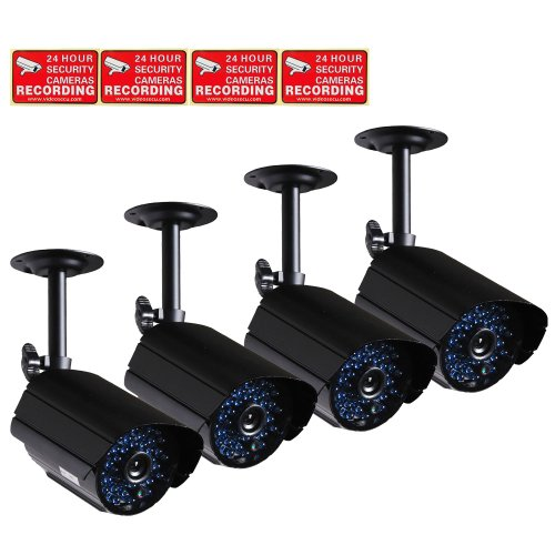 Videosecu 4 Pack Home Outdoor Infrared Bullet Surveillance Security Cameras Built-In Audio Microphone Ir-Cut Filter Day Night Vision 520Tvl For Dvr Cctv System With Bonus Warning Decals Ac8
