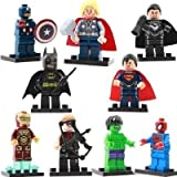 (US) amzingsir Super Heroes Minifigures Mixed - (Set of 9 with Different Minifigures) OneSize, Multicoloured
