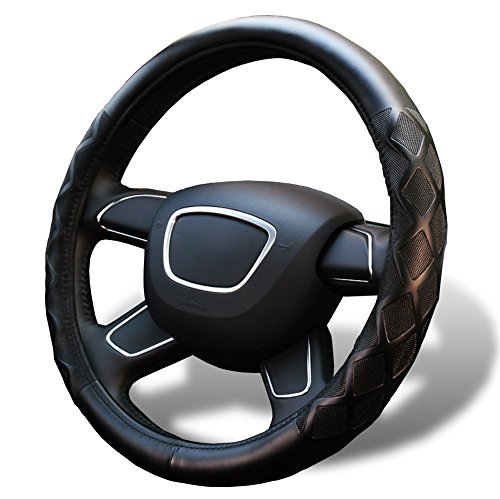 Vitodeco Race Grid Breathable Perforated Synthetic Leather Steering Wheel Cover, Excellent Grip, Large fits 15