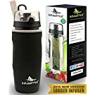 Infuser Water Bottle with Unique Full Length Infuser and Insulating Sleeve - Multiple Colors Options - Large 32 Oz Sport Water Bottle - Your Healthy Hydration Made Easy - Charcoal Black