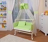 WALDIN Cuna colecho para bebé con equipamiento completo, lacado en blanco, 6 colores a elegir,verde