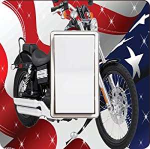 Rikki KnightTM American Flag Harley Davidson Single Rocker Light Switch Plate