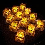 【MF】 光る氷 LED アイスライト 自動ON/OFFタイプ 12個入 説明書&保証書付き 厳しい二重検品合格済 (イエロー, キューブ型)