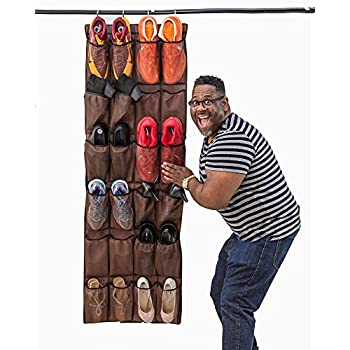 Mirellas House LARGE POCKET SHOE ORGANIZER, Over Door Shoe Rack, Sneaker Rack, Large Shoe Organizer for Door (Bison Brown)