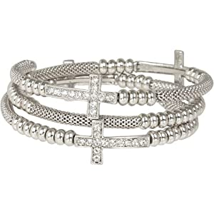 Heirloom Finds Crystal Sideways Cross Coil Wrap Bracelet of Silver Tone Mesh