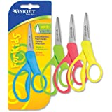 Westcott School Scissors for Left and Right Handed Kids, 5-Inch Pointed, Assorted Colors (13131)
