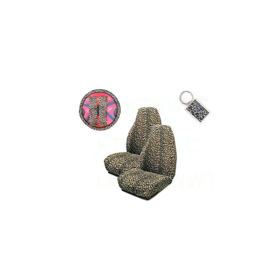 A Set of 2 Universal Fit Animal Print High Back Bucket Seat Covers, Wheel Cover, 2 Shoulder Pads, and 1 Key Fob   Cheetah Tan