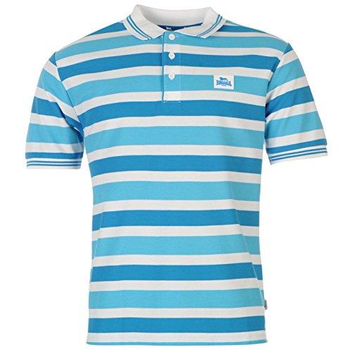 Lonsdale 3Block Stripe Polo da uomo bianco/blu/ciano Top T-Shirt Tee, White/Blue/Cyan, L