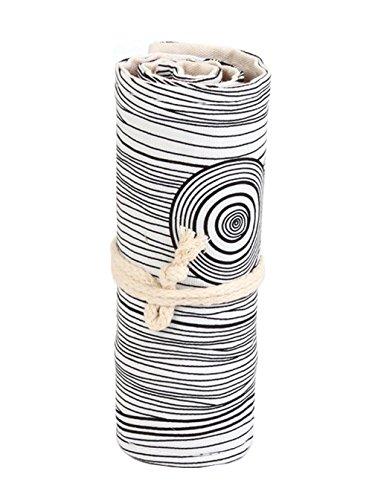 Nawoshow Nuovo stile Crescita squillo Carino Canvas Roll Up matita della scuola della cassa cancelleria studenti sacchetto della matita Wrap Painting (senza matite inclusi) (36 fori)