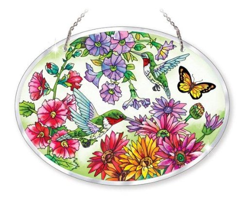 Amia Beveled Glass Large Oval Suncatcher Hand-Painted Hummingbird Design, 9 by 6-1/2-Inch 0